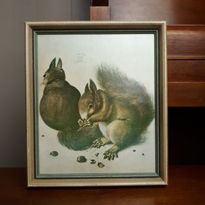 Vintage lithograph squirrels wall art